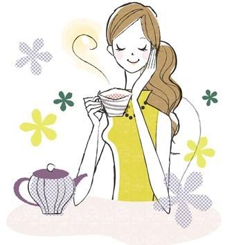 女性  お茶を飲む 健康